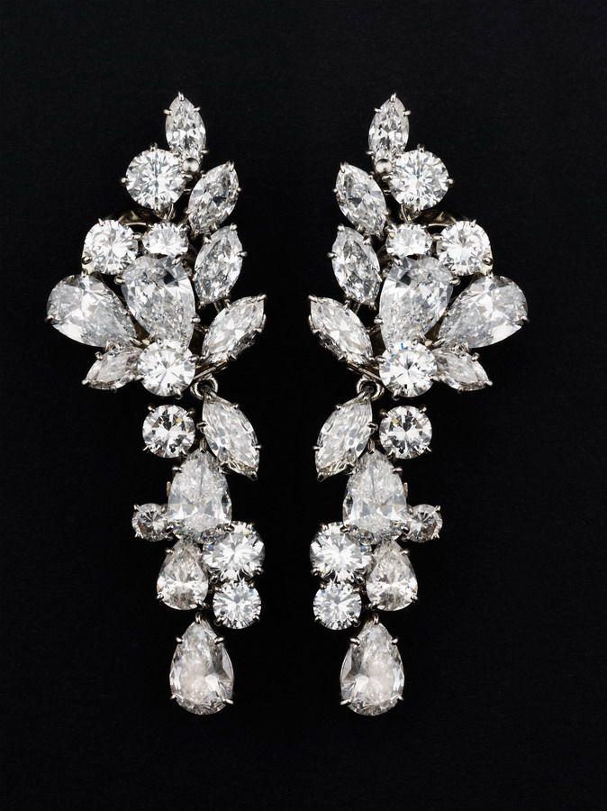 Diamond and platinum ear pendants by Van Cleef & Arpels
