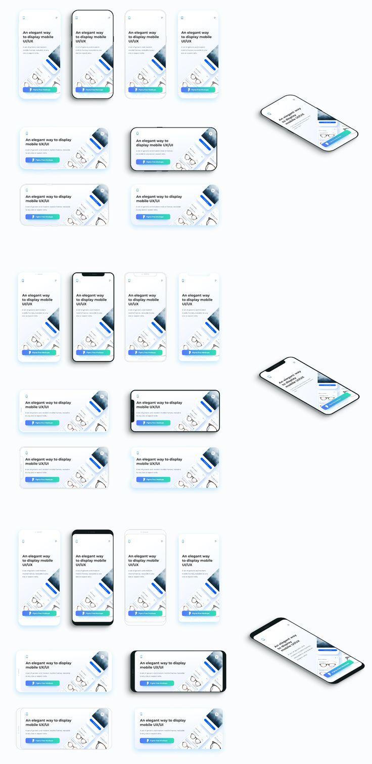 Flat Mobile Frames Mockups For Figma Uistore Design Frame Mockups Figma Mockup