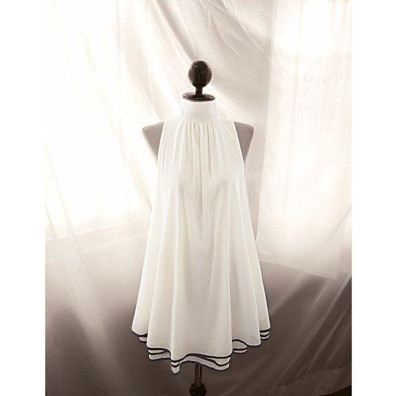 Jane Austen White Cream Rockabilly Steampunk Halter Swing Bridesmaid Grace Kelly Ethereal Flowy Great Gatsby Marilyn Monroe Long Tunic Dress