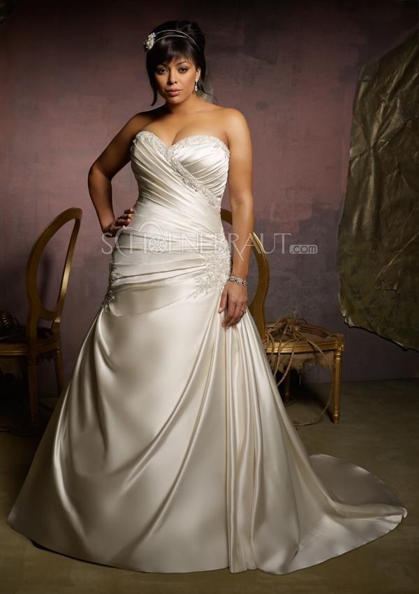 Herzförmig Raffungen Satin Große Größen Hochzeitskleider mit ...