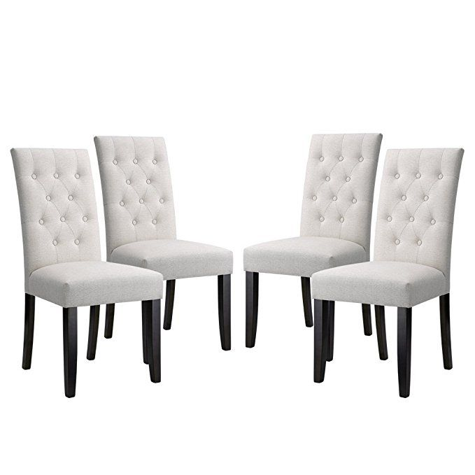 Langria High Back Button Tufted Dining Chair Modern Faux Linen Set Of 4 289 Or Set Dining Room Chairs Upholstered Modern Dining Chairs Tufted Dining Chairs
