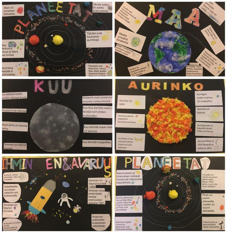 Tutkimme avaruutta! Oppilailla oli valmiit kysymykset aiheista. Harjoittelimme vastaamista kokonaisella virkkeellä. Tiedonhakuun käytimme kirjaston kirjoja, tietokonetta ja ylen Avaruuskansiot-sarjaa. Hienoja tuli!