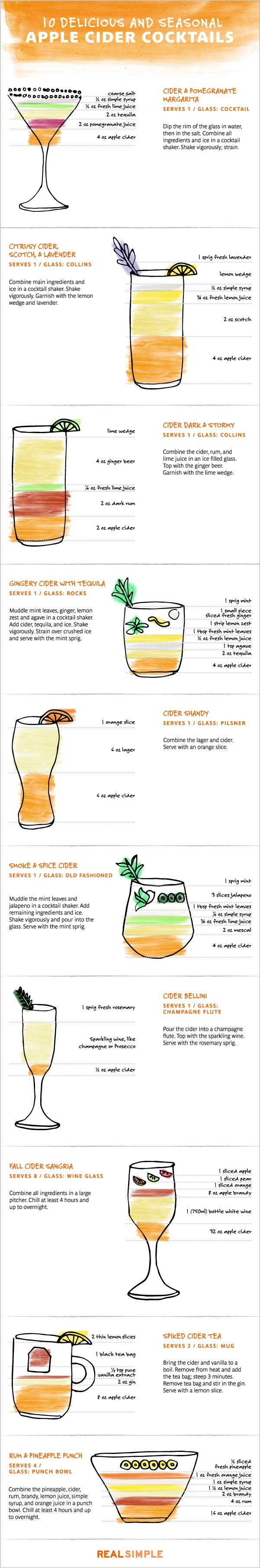Apple Cider Cocktails by realsimple #Infographic #Cocktails #Apple_Cider