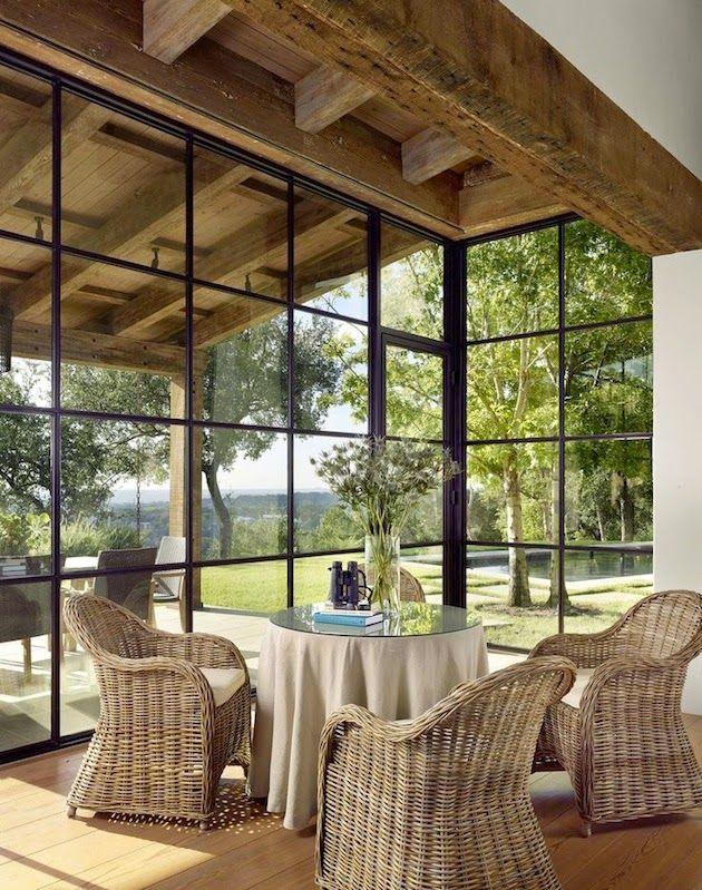 gorgeous black iron sundroom windows and doors - Ryan Street Associates