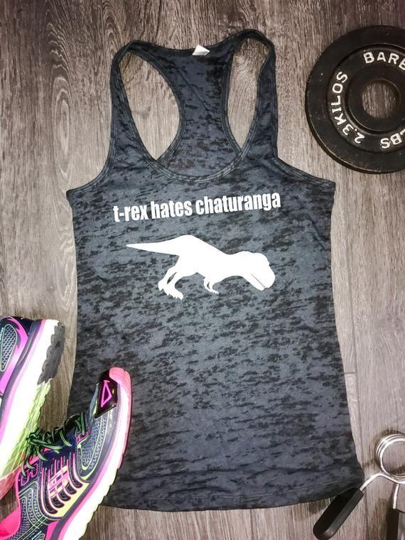 Womens Yoga Tank Top Trex Hates Chaturanga Trex Hates T Rex Etsy Yoga Tank Tops Womens Workout Tank Workout Tank Tops Funny