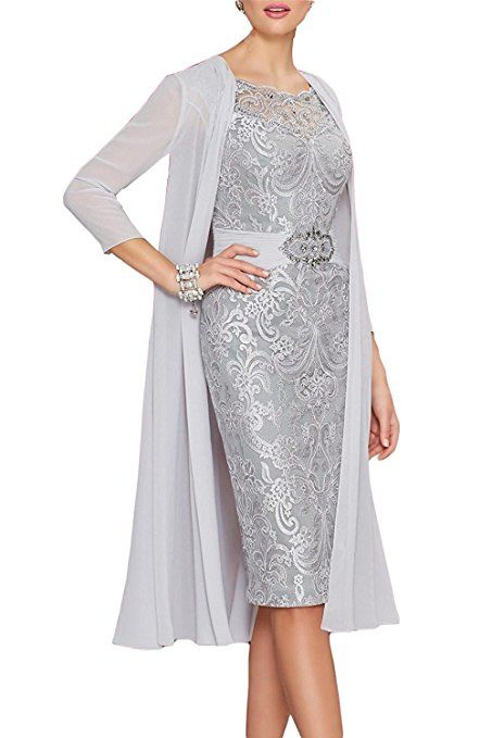 6e2c1b21810 Newdeve Chiffon Mother Of The Bride Dresses Tea Length Two Pieces With  Jacket at Amazon Women s Clothing store