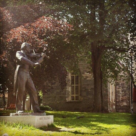 Trondheim,  Norway.  Statue of Arve Tellefsen.