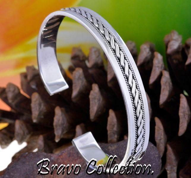 5SB-185 Solid Sterling Silver New Unique Wristband Cuff Bangle Men Bracelet