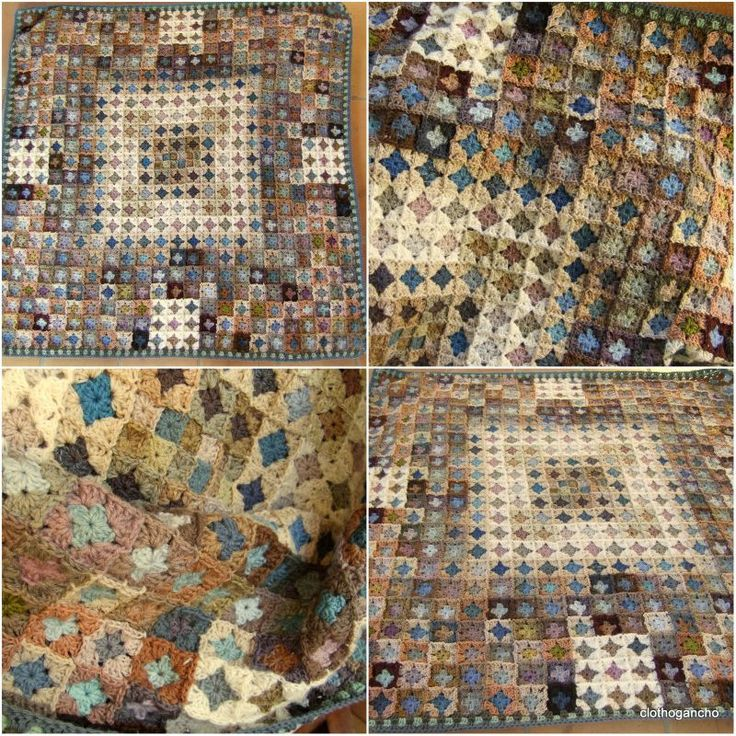 WOWZA  subtle color way, small squares, transforms the granny into a mosaic