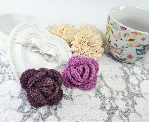 2 crochet roses acrylic rose applique wool rose
