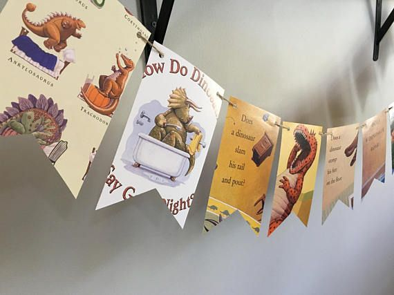 How Do DINOSAURS Say Good Night book page banner bunting