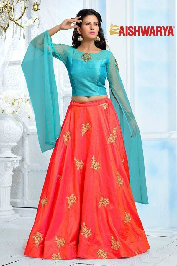 Look ultra chic wearing this fancy lehenga with long slit sleeves. Buy Lehenga choli online - http://www.aishwaryadesignstudio.com/glorious-blue-orange-designer-lehenga
