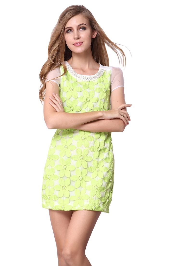 Green White Short Sleeve Bead Flowers Pattern Dress