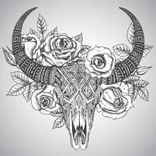 Image result for buffalo skull with flowers tattoo