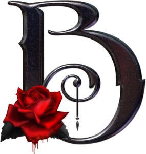 Abecedario gótico adornado con rosas. Letra B mayúscula.