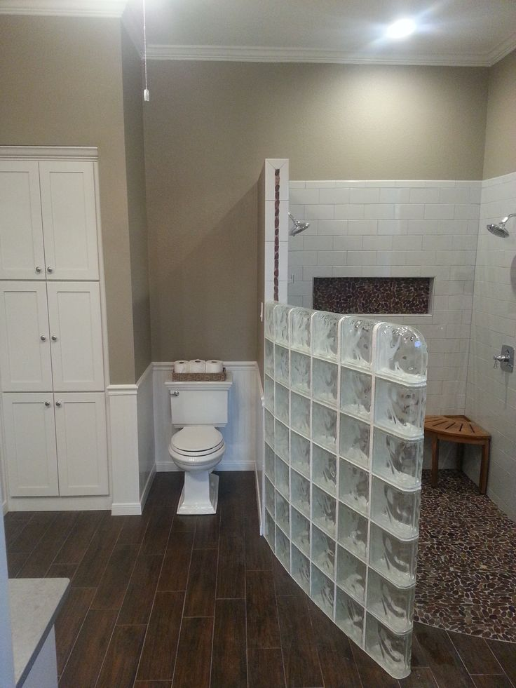 Terrific White Wooden Three Doors Storage Cabinet And Custom Unique Toilet Also Great Glass Block Tiles Shower No