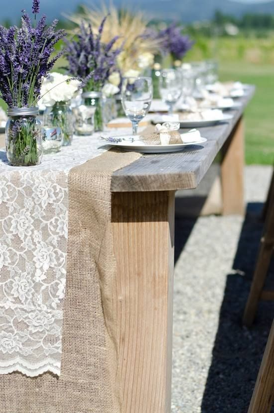 Lavender And Lace Over Burlap   Country Elegance