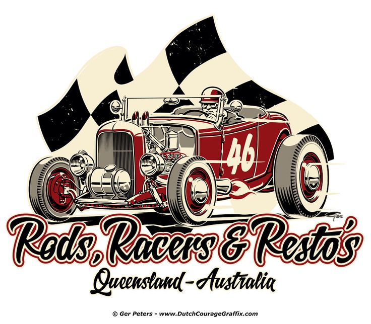 Rods, Racers & Resto's logo art #automotive #hotrod #hot #rod #racer #restoration #logo #artwork