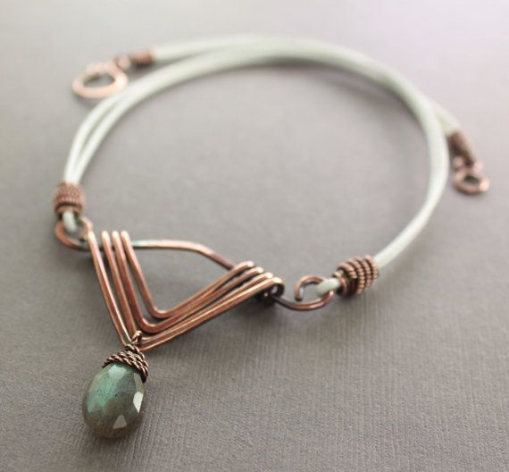 Art Deco necklace in copper with faceted flashy labradorite drop stone pendant on leather - other leather colors are available via Etsy