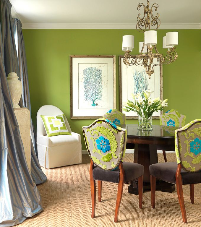 Love the colors... and those chair backs, oh my!Decor, Dining Rooms, Wall Colors, Chairs Fabrics, Green, Interiors Design, Colors Schemes, Chairs Back, Dining Room Chairs