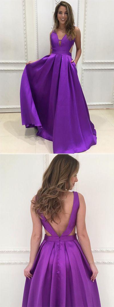 Long Prom Dresses,Cheap Prom Dress,Party Dresses,Prom Gowns,Gowns Prom,Evening Dresses,Cheap Prom Dresses,Dresses for Girls,Prom Dress UK,Prom Suit,Prom Dress Brand,Prom Dress Store,Satin A-line V-neck Long Prom Dresses, Purple Bridesmaid Dress, M89