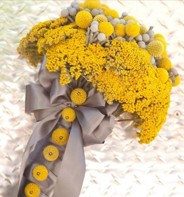 Unknown Designer. Yellow and grey dried flower bouquet: golden yarrow, craspedia, brunia with silver satin bouquet. Could be made fresh - it will dry after wedding.: