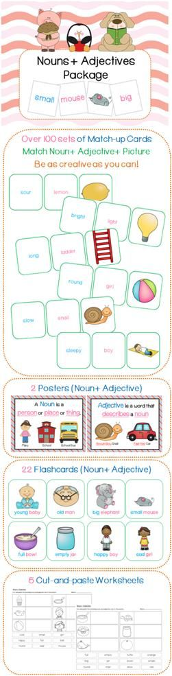 Match a relevant noun + adjective with the picture. There's no definite answer! You can also choose to not use the pictures so students can be more creative in the phrases they make! 2 posters (Noun & Adjective), 22 flashcards (w/ picture + relevant noun + adjective) and 5 cut-and-paste worksheets are also included.