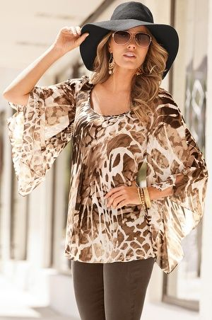 Boston Proper Desert animal blouse 																 												NYDJ legging #bostonproper