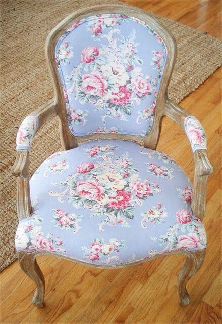 Flowery Cath Kidston pattern upholstered chair. Soft pinks and blues on Upcycled furniture
