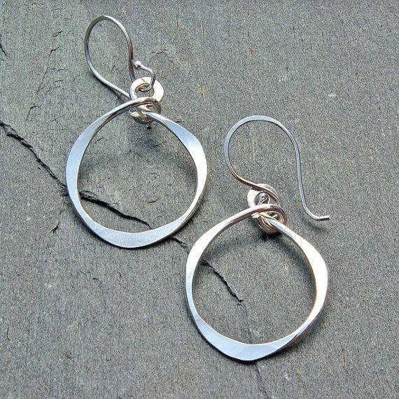 Hoop Earrings Hammered Silver Hoops Argentium Clic Jewelry