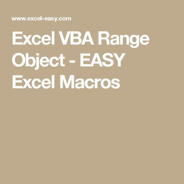 Excel VBA Range Object - EASY Excel Macros