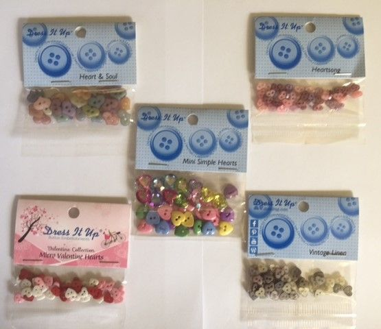 Tiny Hearts Bundle 5 packets of buttons for $30 (inc postage)