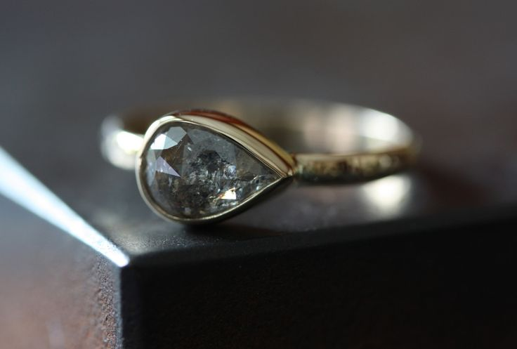 Image of Silver-Grey Diamond Ring in 14kt Yellow Gold
