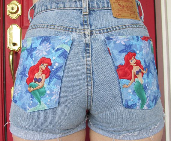The Little Mermaid Distressed Shorts by WhatDressCode on Etsy, $30.00