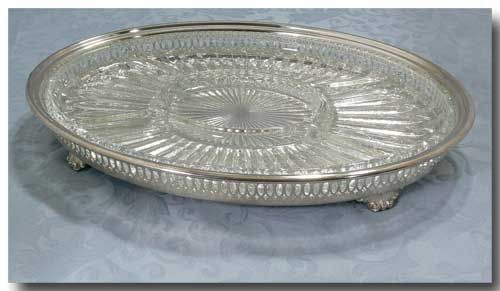 VINTAGE SILVER PLATED GALLERY TRAY WITH GLASS INSERT