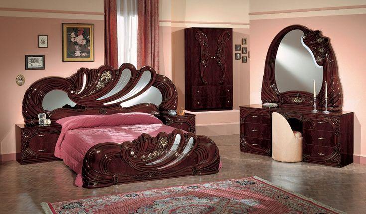 Italian Bedroom Sets Product | Home / Vanity Mahogony Italian Classic 5-Piece Bedroom Set