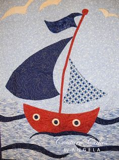 LOVE this sailboat baby quilt, which was designed by the writer, put together as a kit and sewn by a master quilter. Great idea -- find something you love, create a pattern and if you aren't a quilter, find someone to assemble it for you! #babyquilts #nautical #sailboats