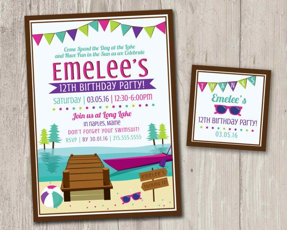 Lake Birthday Party Invitations Kayak by ThePaperVioletShoppe