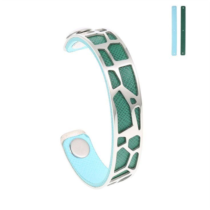 Bracelet Jonc en Acier Inoxydable et Cuir modèle Valentine