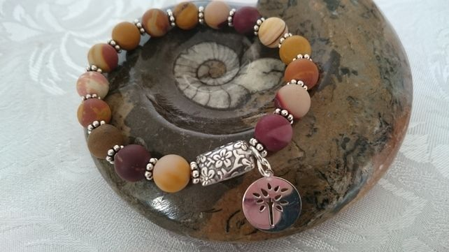 Mookait ,sterling silver elasticated beaded bracelet with tree of life charm  £30.06