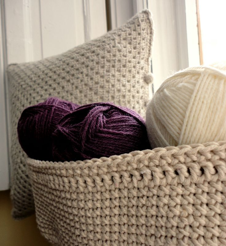 yarn and pillow - crochet storage