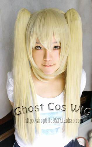 Cheap!!2*60cm chip on ponytails blonde long straight party cosplay costume wig.Synthetic lace full hair.Free shipping