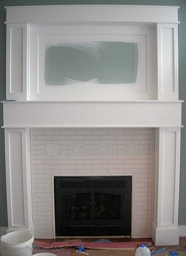 subway tile for the fireplace