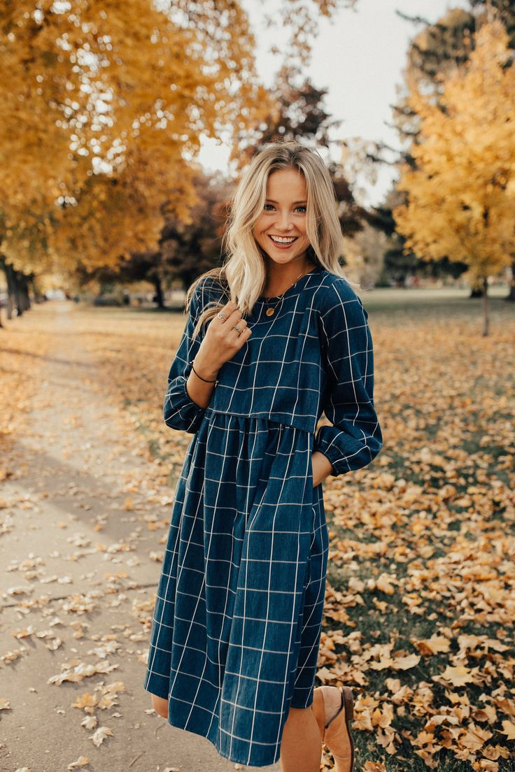 Denim + White Plaid Dress | ROOLEE