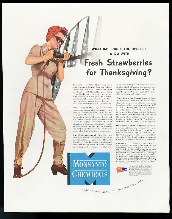 1943 Rosie the Riveter photo Monsanto Chemicals vintage print ad