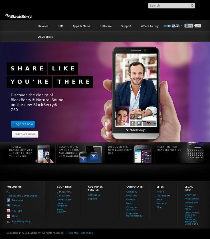 The website 'http://ca.blackberry.com/' courtesy of @Pinstamatic (http://pinstamatic.com)