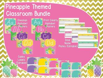 This Pineapple Classroom Bundle is the perfect way to decorate your classroom. The zipped file includes 6 separate PDF docs as well as 2 editable PPT docs so you can add your own words, names, etc. Included you will find:-Alphabet Posters (Print Clearly & DNealian)-Behavior Charts-Calendar Signs (Months, Days of the Week, Numbers)-Color Posters-Cubby Labels (Editable)-Desk Name Plates (Editable)-Shape Posters-Ten Frame Posters (0-20)Check out my store of a few other Pineapple Themed items...