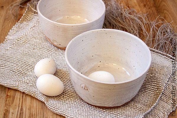 Купить Салатница в деревенском стиле - белый, терракотовый, миска из глины, керамическая салатница, деревенский стиль