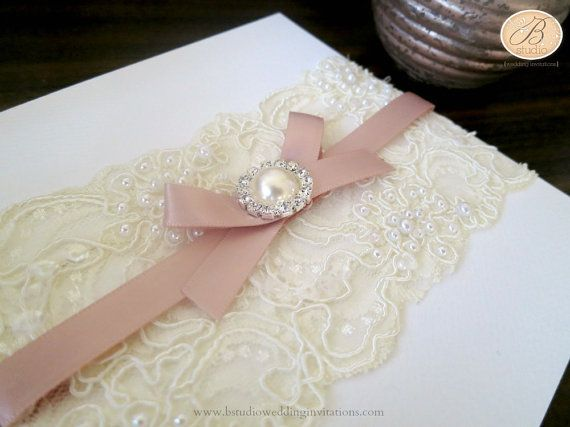 Vintage Lace Wedding Invitation with envelope- IVORY/white/pink ribbon