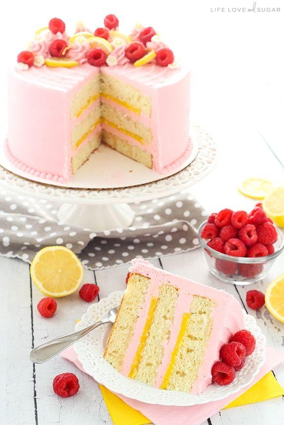 Lemon Raspberry Layer Cake – ein leichter, feuchter Zitronenkuchen mit Zitronenquark …   – Desserts Part 2